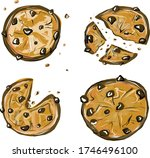 homemade choco chip cookies... | Shutterstock .eps vector #1746496100