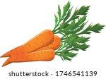 orange carrot with green leaves | Shutterstock .eps vector #1746541139