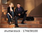 young business couple with... | Shutterstock . vector #174658100