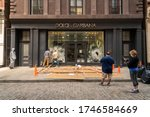 Small photo of New York NY/USA-June 1, 2020 Looted Dolce & Gabbana store in Soho in New York after looting during the previous nightOs protests