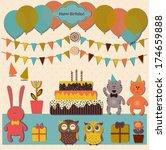 happy birthday design set.... | Shutterstock .eps vector #174659888