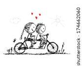 couple cycling together ... | Shutterstock .eps vector #174662060