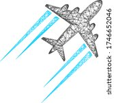 web mesh flying airplane trace... | Shutterstock .eps vector #1746652046