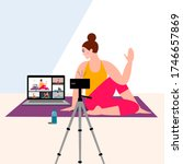 stay home concept. live stream  ...   Shutterstock .eps vector #1746657869