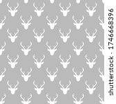 seamless pattern with deer... | Shutterstock .eps vector #1746668396