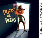 kid with pumpkin in halloween... | Shutterstock .eps vector #1746687536