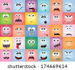 cartoon faces with emotions  | Shutterstock .eps vector #174669614