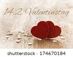 valentines day card with german text 14.2. valentinstag - stock photo