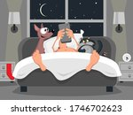 a man in bed with a cat and a... | Shutterstock .eps vector #1746702623