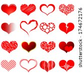 collection of red heart shapes... | Shutterstock . vector #174672176