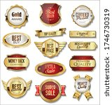 collection of golden badges and ... | Shutterstock . vector #1746730319