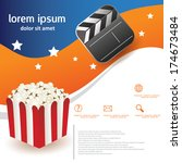 popcorn movie brochure template | Shutterstock .eps vector #174673484