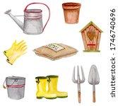 Watercolor Set Of Gardening...