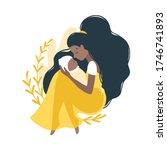 mom and newborn baby. dark... | Shutterstock .eps vector #1746741893