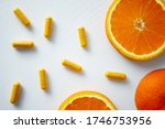 Vitamin C Pills With Slices Of...