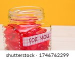 Jar With Hearts On The Table ...