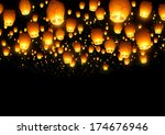a large collection of flying... | Shutterstock . vector #174676946