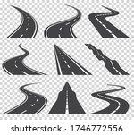 curved roads set. asphalt road...   Shutterstock . vector #1746772556