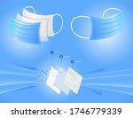 set. three layer surgical mask... | Shutterstock .eps vector #1746779339