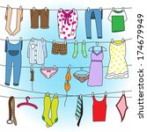 Stock vector laundry drying on clothes line 174679949