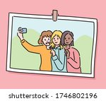 three friends are taking... | Shutterstock .eps vector #1746802196