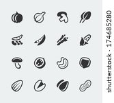 Vector vegetables and nuts mini icons set