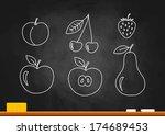 fruit drawing on blackboard | Shutterstock .eps vector #174689453