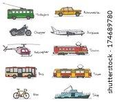 signed transport vehicles... | Shutterstock .eps vector #174689780
