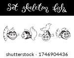 Cute Set Fish Skeletons. ...