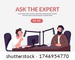radio podcast banner flat... | Shutterstock .eps vector #1746954770