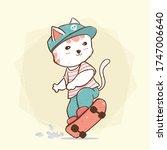 cute flat vector skate boy cat...   Shutterstock .eps vector #1747006640