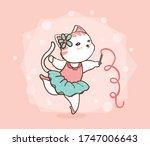 Cute Cat Ballet Dancing In Pin...