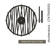 unusual round wall clock in a... | Shutterstock .eps vector #1747043033