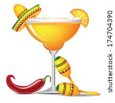 Margarita with sombrero, jalape�±o and maracas EPS 10 vector, grouped for easy editing. No open shapes or paths.