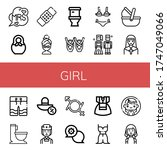 Set Of Girl Icons. Such As Mrs  ...