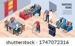 isometric nursing home...   Shutterstock .eps vector #1747072316