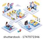 kindergarten kids learning...   Shutterstock .eps vector #1747072346
