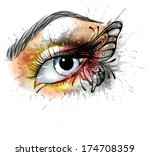eye make up with butterfly | Shutterstock .eps vector #174708359