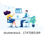 keeping a distance in the... | Shutterstock .eps vector #1747085189