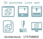vector icon set of 3d printing...