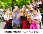 in beer garden in bavaria ... | Shutterstock . vector #174711143