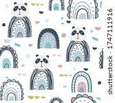 panda and rainbows hand drawn... | Shutterstock .eps vector #1747111916