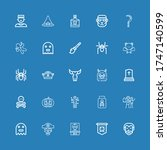 editable 25 scary icons for web ... | Shutterstock .eps vector #1747140599