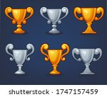 gold and silver trophey cup for ... | Shutterstock .eps vector #1747157459