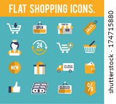 flat shopping icons. 1