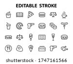 a simple set of fast food icons ... | Shutterstock .eps vector #1747161566