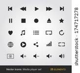 media player icons set | Shutterstock .eps vector #174717278