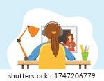girl studying online education...   Shutterstock .eps vector #1747206779