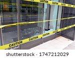 Broken Glass Window On Retail...