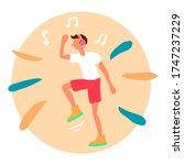 shuffle dancer. man dancing in... | Shutterstock .eps vector #1747237229